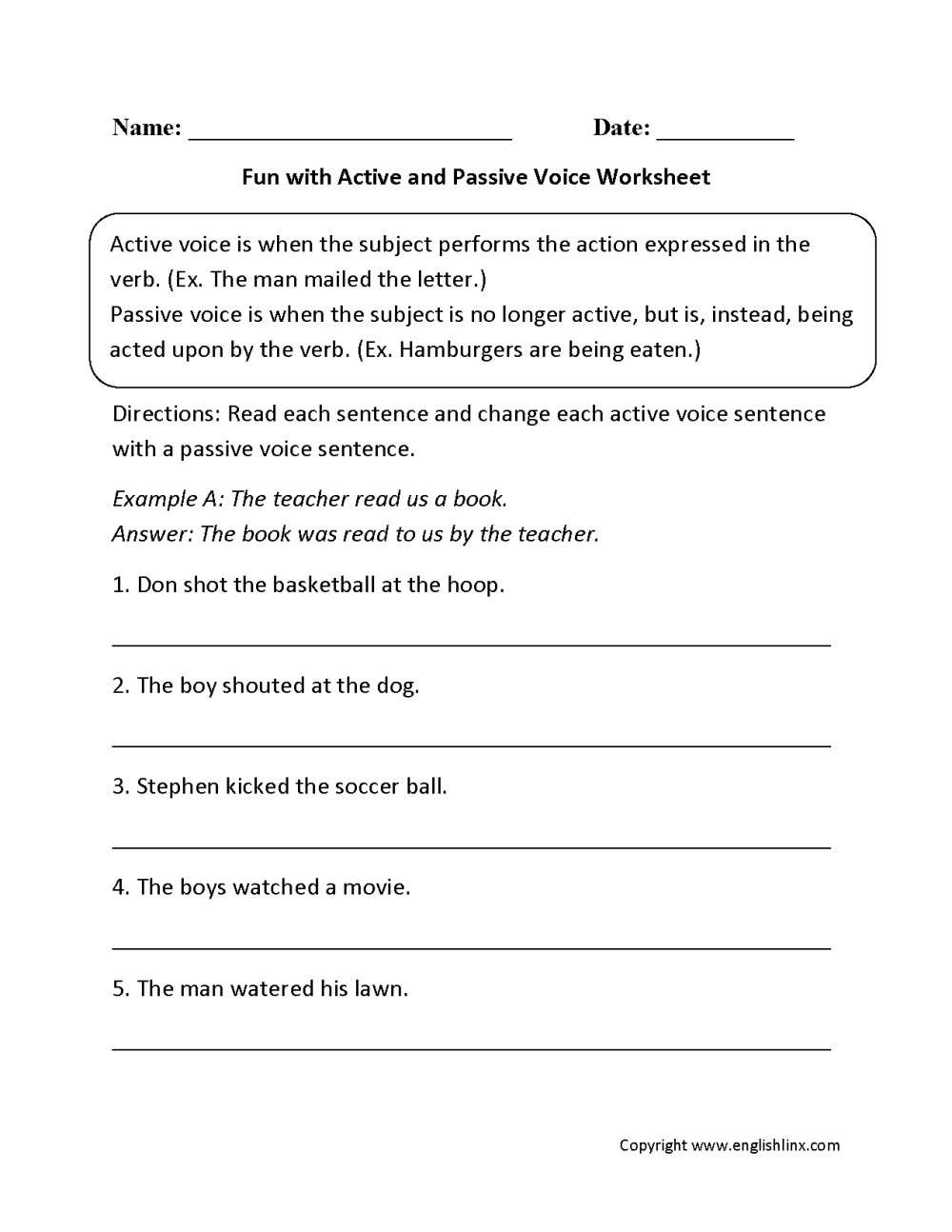 medium resolution of Englishlinx.com   Active and Passive Voice Worksheets