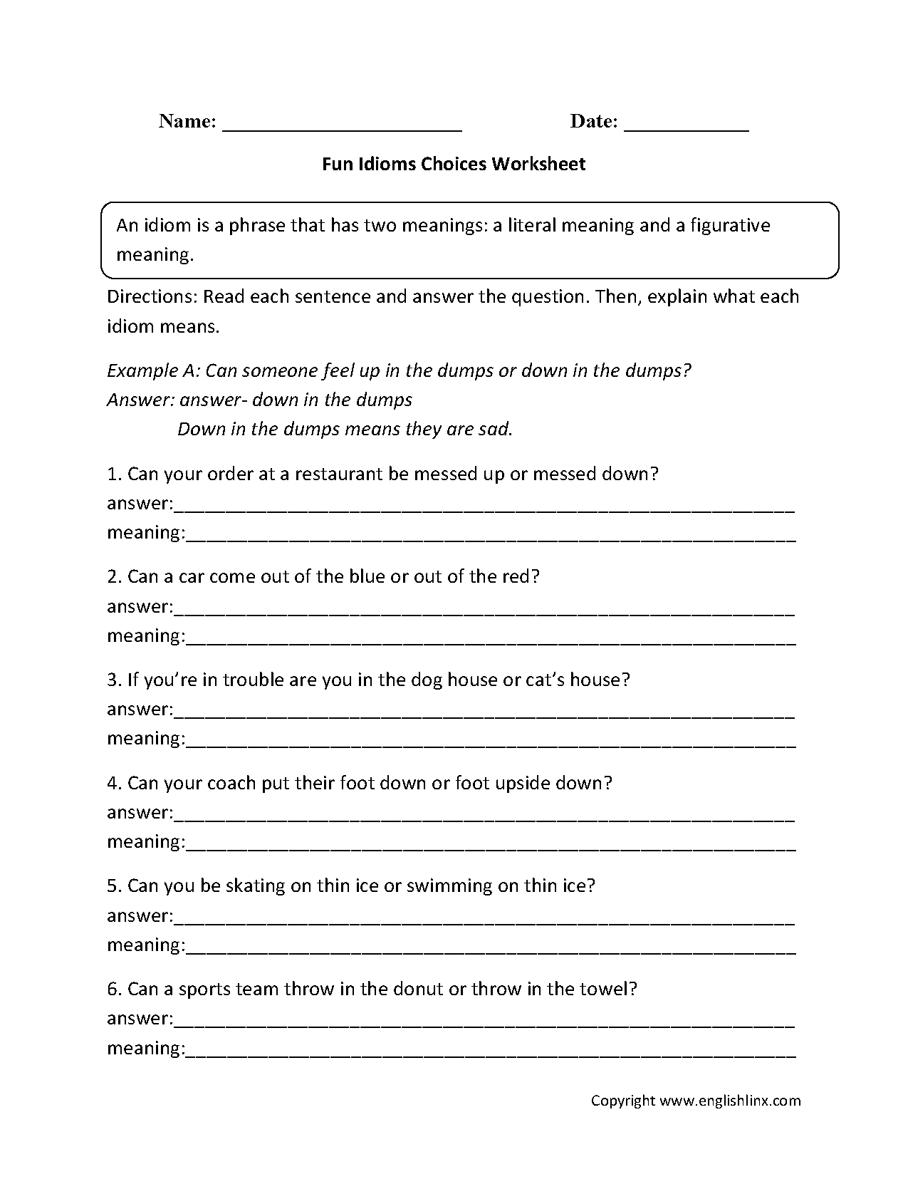 hight resolution of Idioms Worksheets   Fun Idioms Choices Worksheets