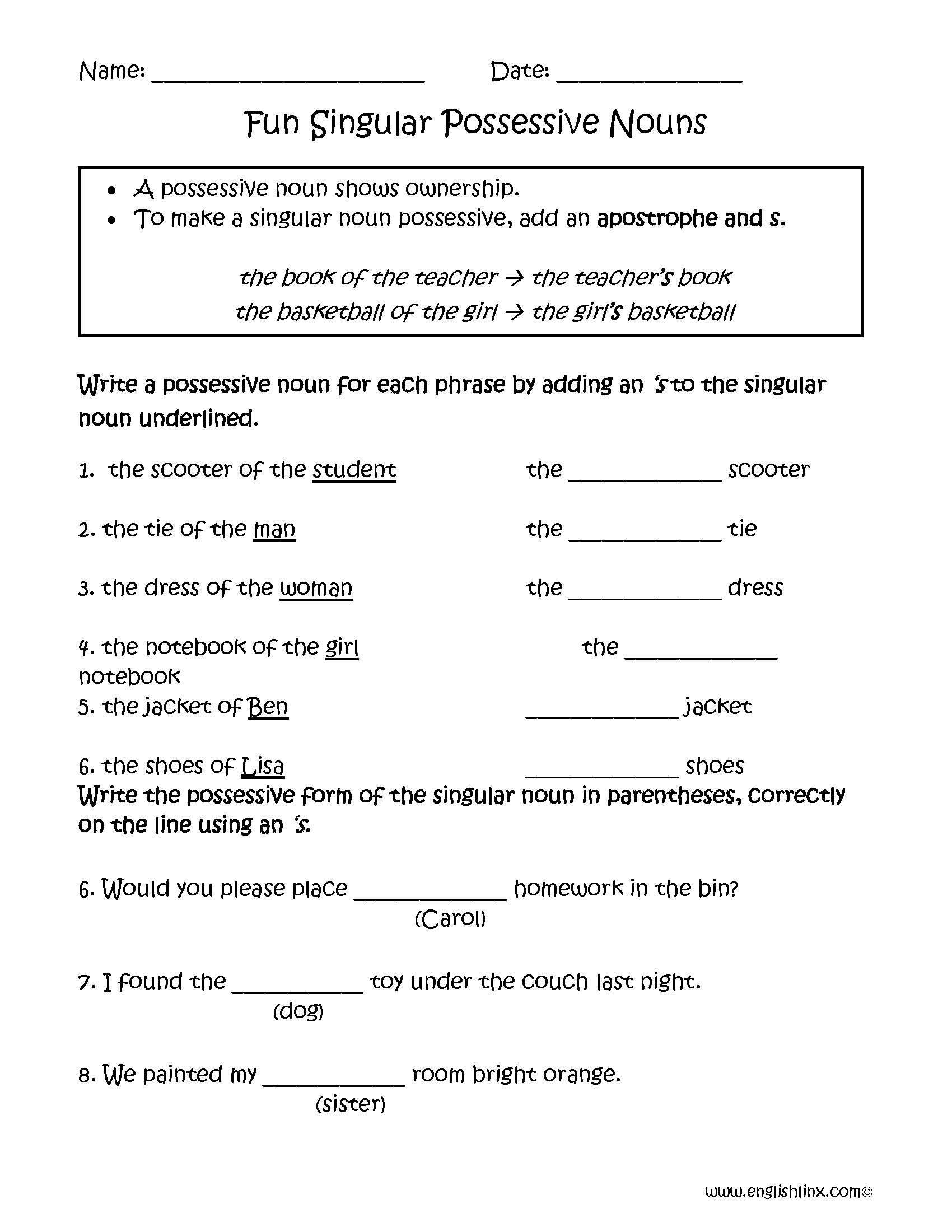 hight resolution of Possessive Nouns Worksheets   Fun Singular Possessive Nouns Worksheets