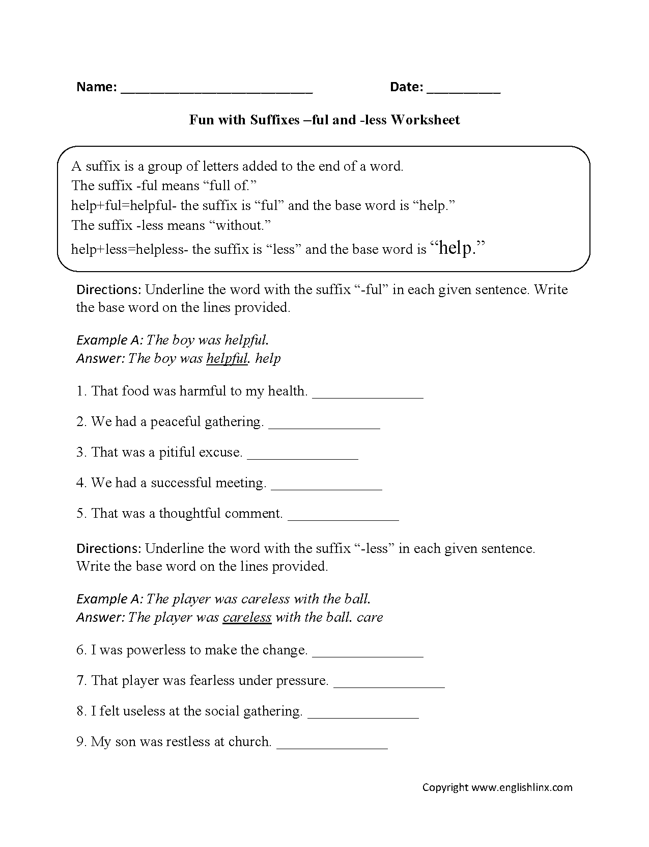 hight resolution of Suffixes Worksheets   Fun with Suffixes -ful and -less Worksheets