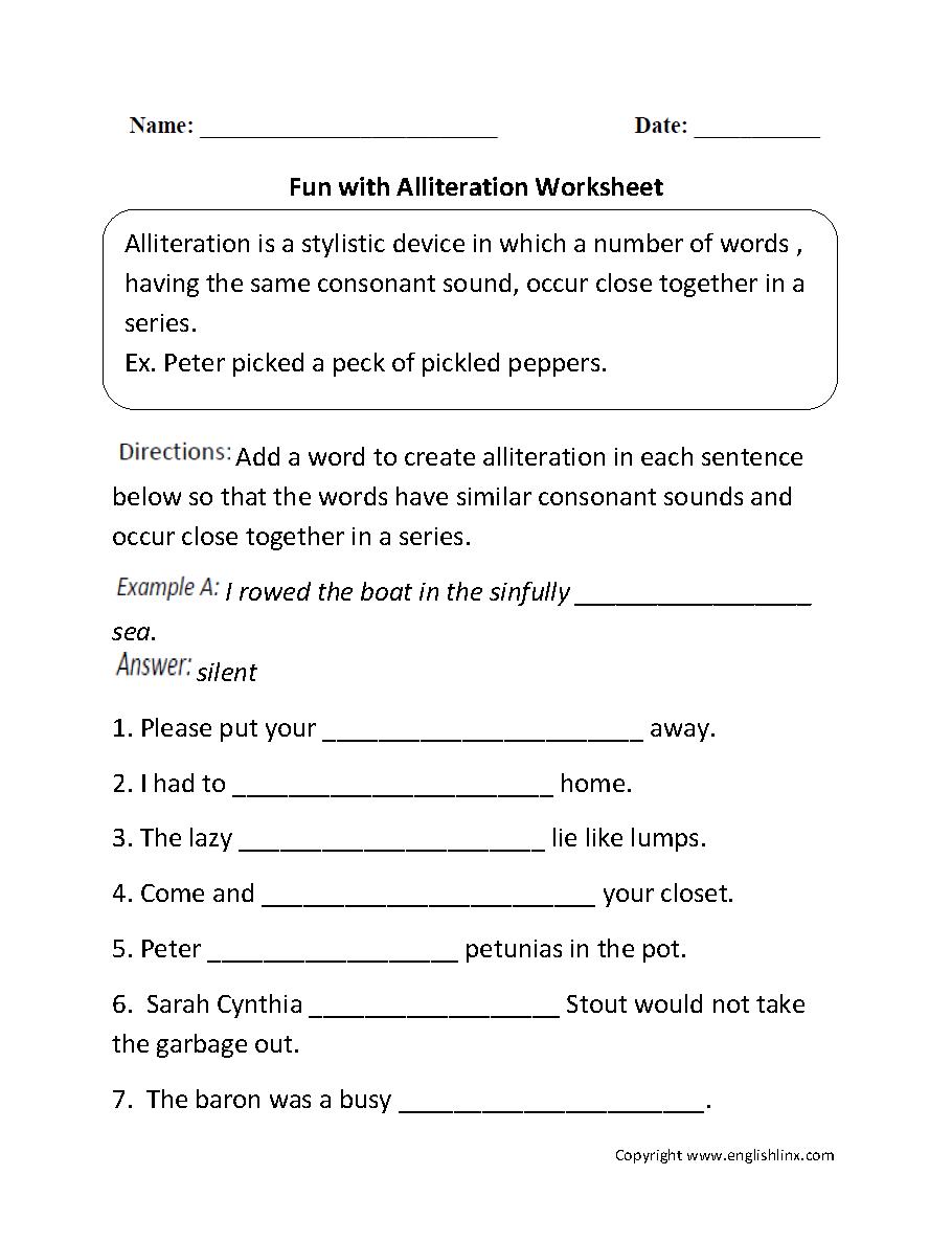 medium resolution of Alliteration Worksheets   Fun with Alliteration Worksheet