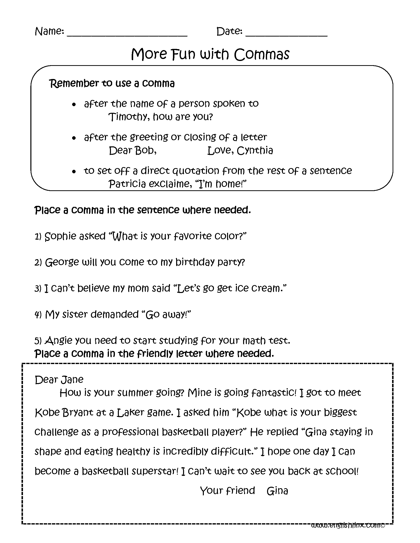 hight resolution of Commas Worksheets   Fun with Commas Worksheets