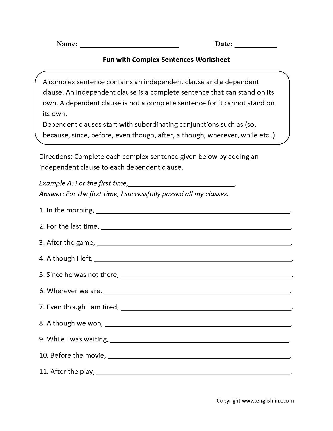 Complex Sentences Worksheets