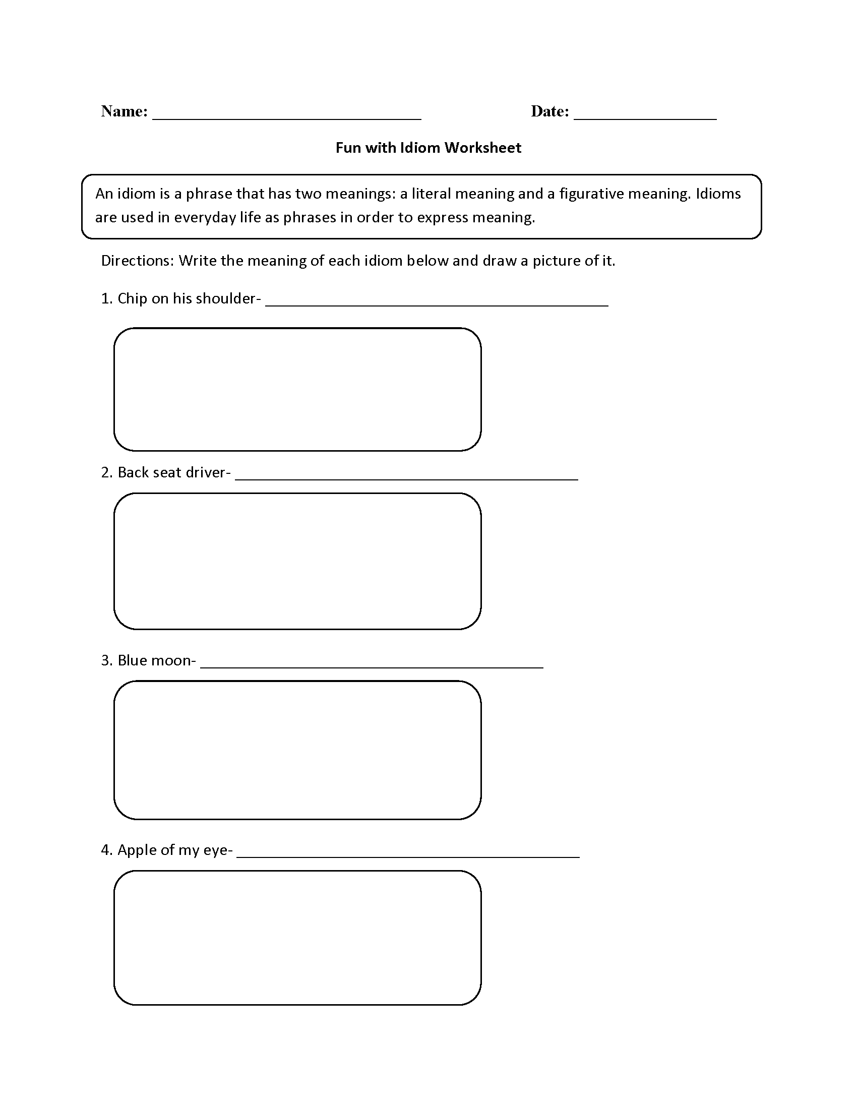 hight resolution of Figurative Language Worksheets   Idiom Worksheets