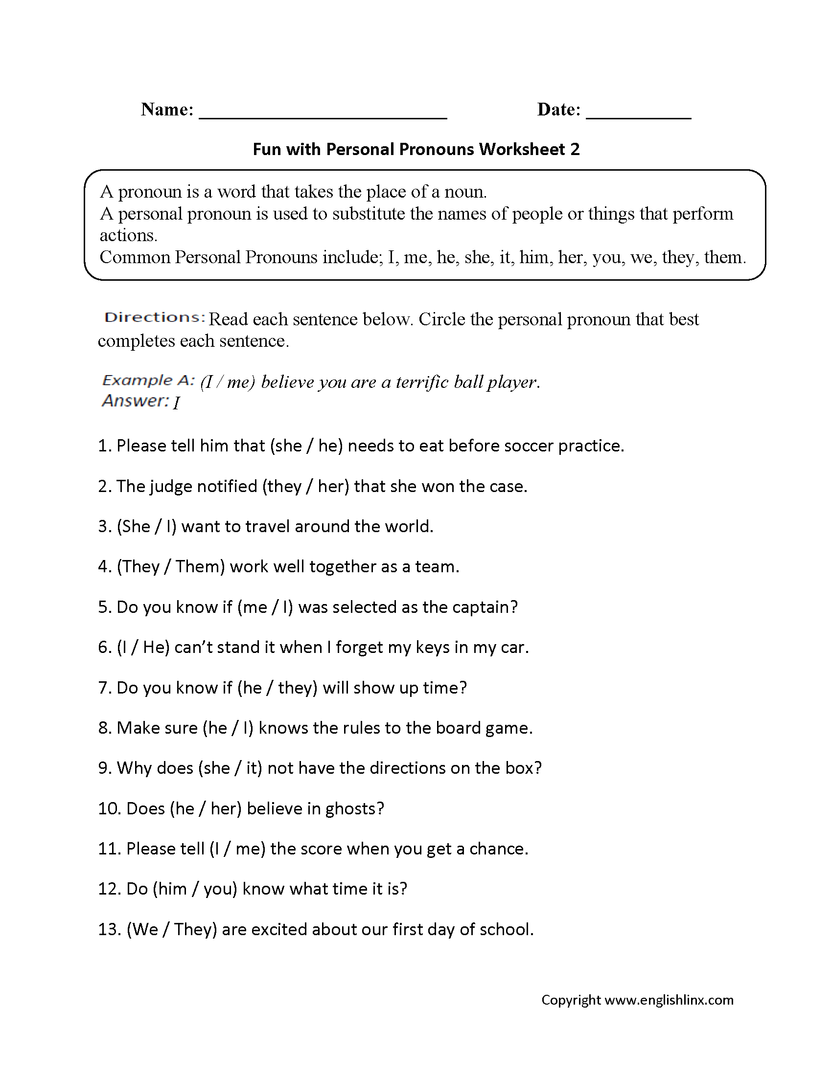 Pronouns Worksheet Year 3