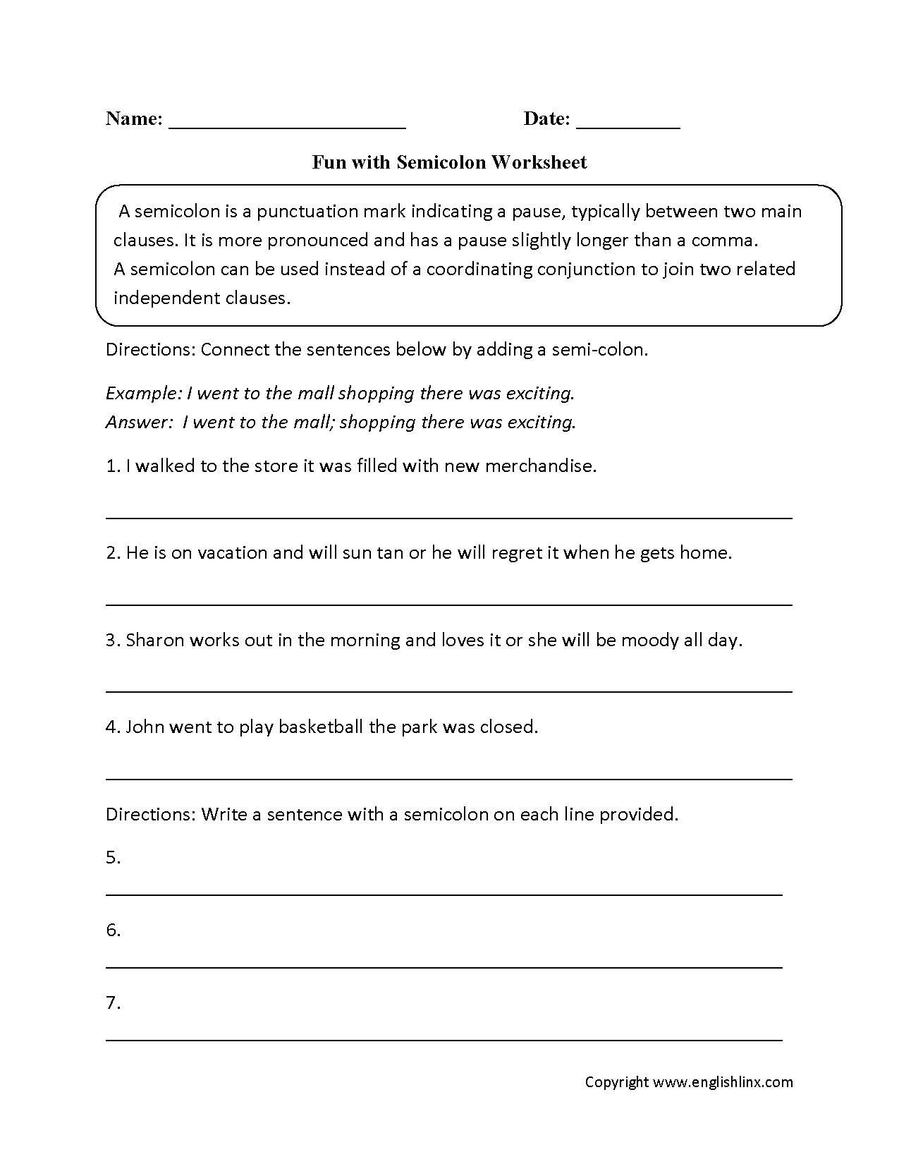 Worksheet Semicolon And Colon Worksheet Grass Fedjp