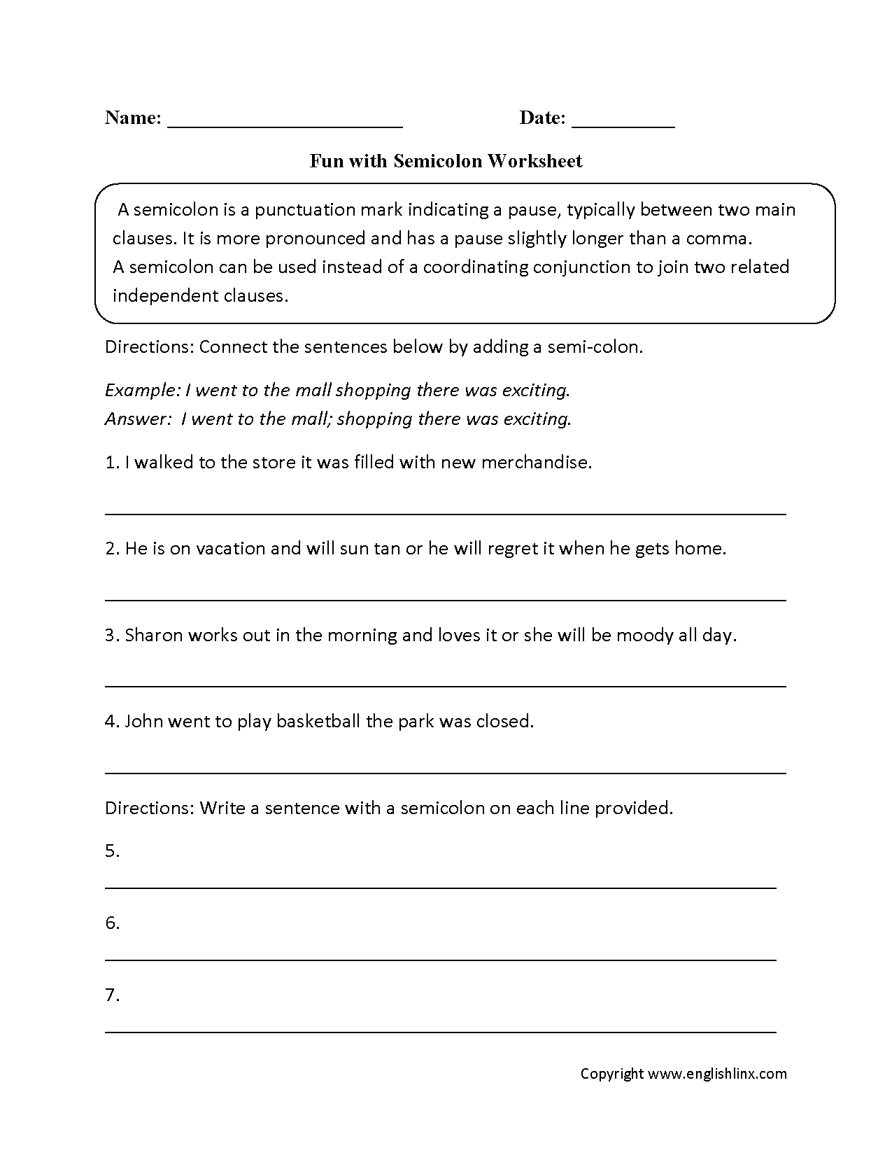 hight resolution of Punctuation Worksheets   Semicolon Worksheets