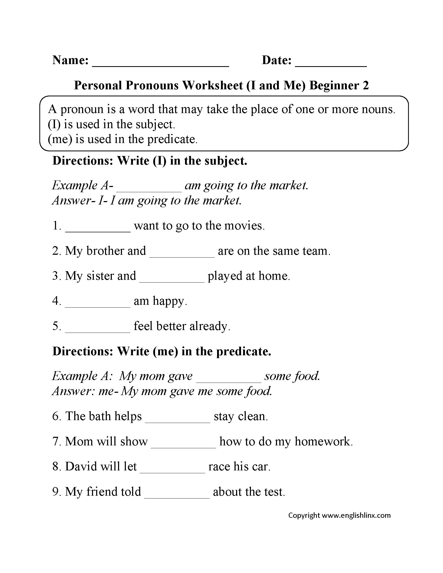 hight resolution of Englishlinx.com   Pronouns Worksheets