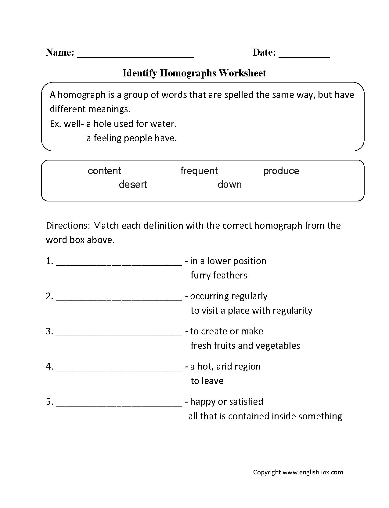 hight resolution of Vocabulary Worksheets   Homograph Worksheets