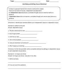 Clauses Worksheets   Identifying and Writing Clauses Worksheet [ 1650 x 1275 Pixel ]