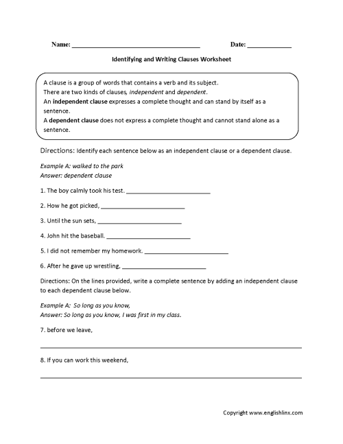 small resolution of Clauses Worksheets   Identifying and Writing Clauses Worksheet