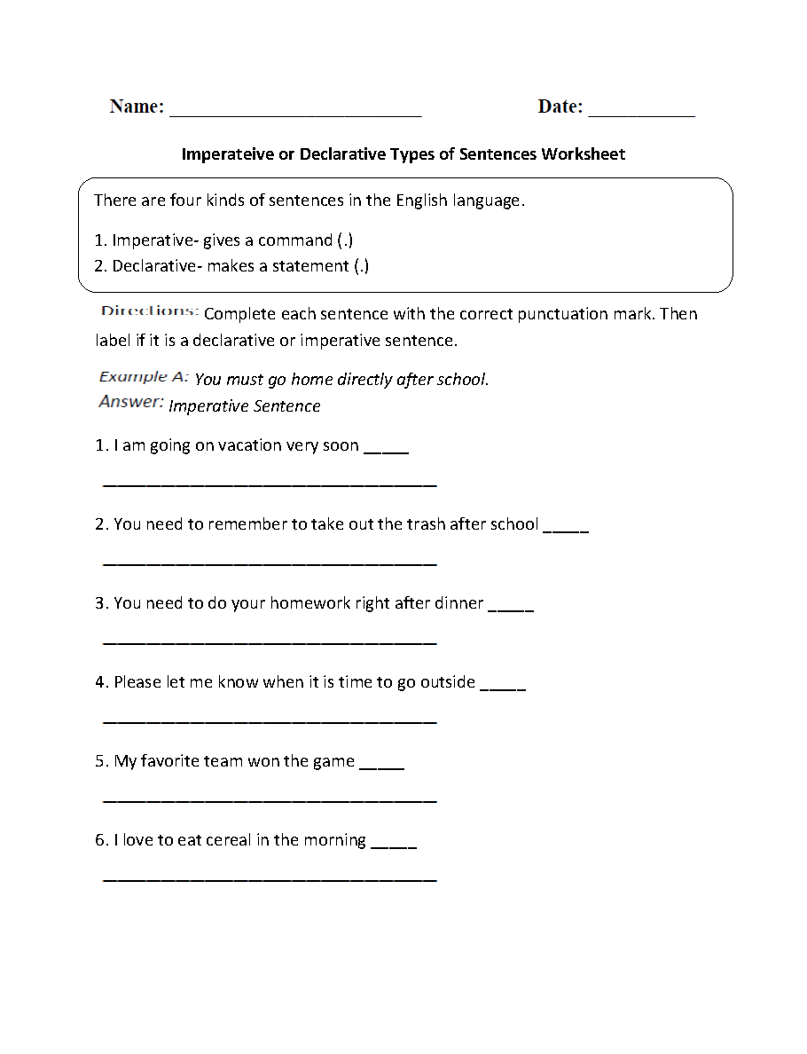 hight resolution of Sentences Worksheets   Types of Sentences Worksheets