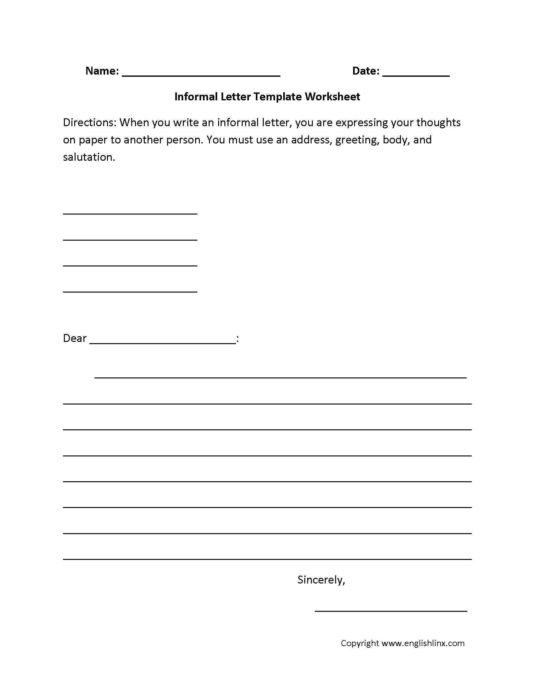Letter Writing Worksheets