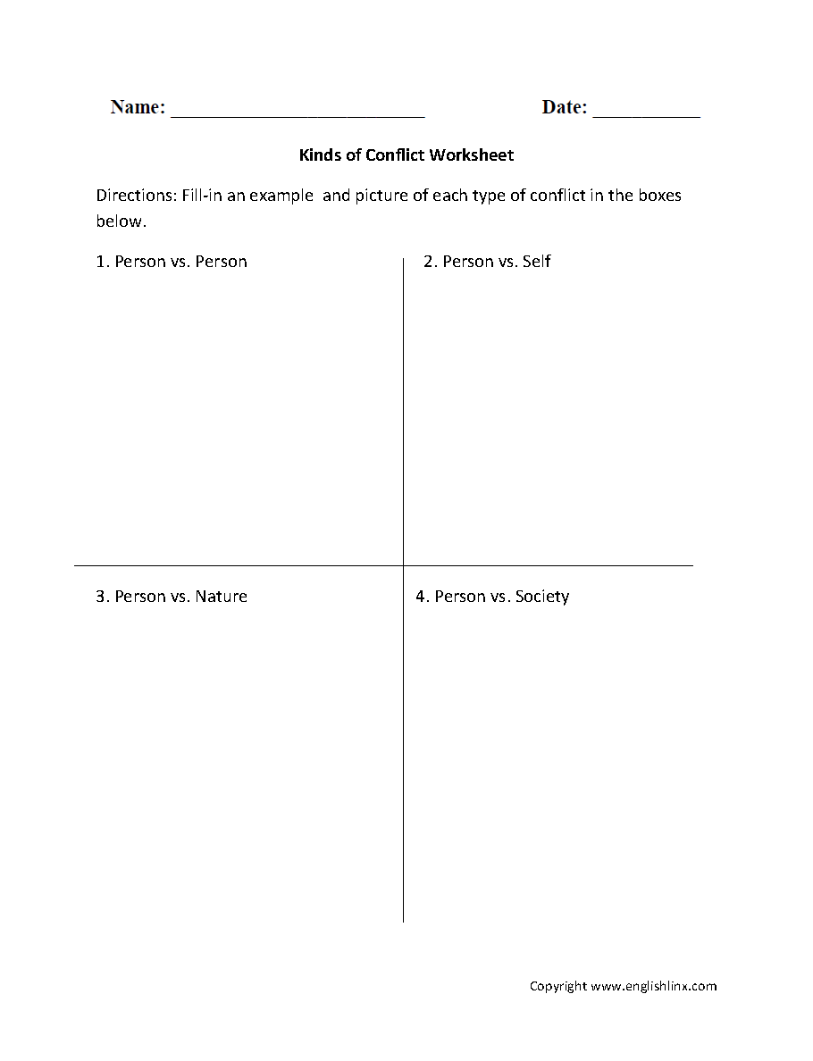 hight resolution of Englishlinx.com   Conflict Worksheets