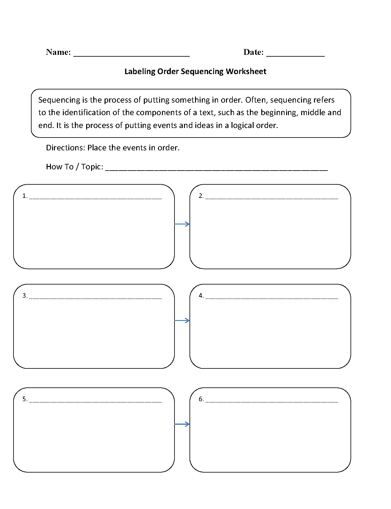 Worksheet On Sequencing Of Events For Grade 4