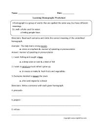 Vocabulary Worksheets | Homograph Worksheets
