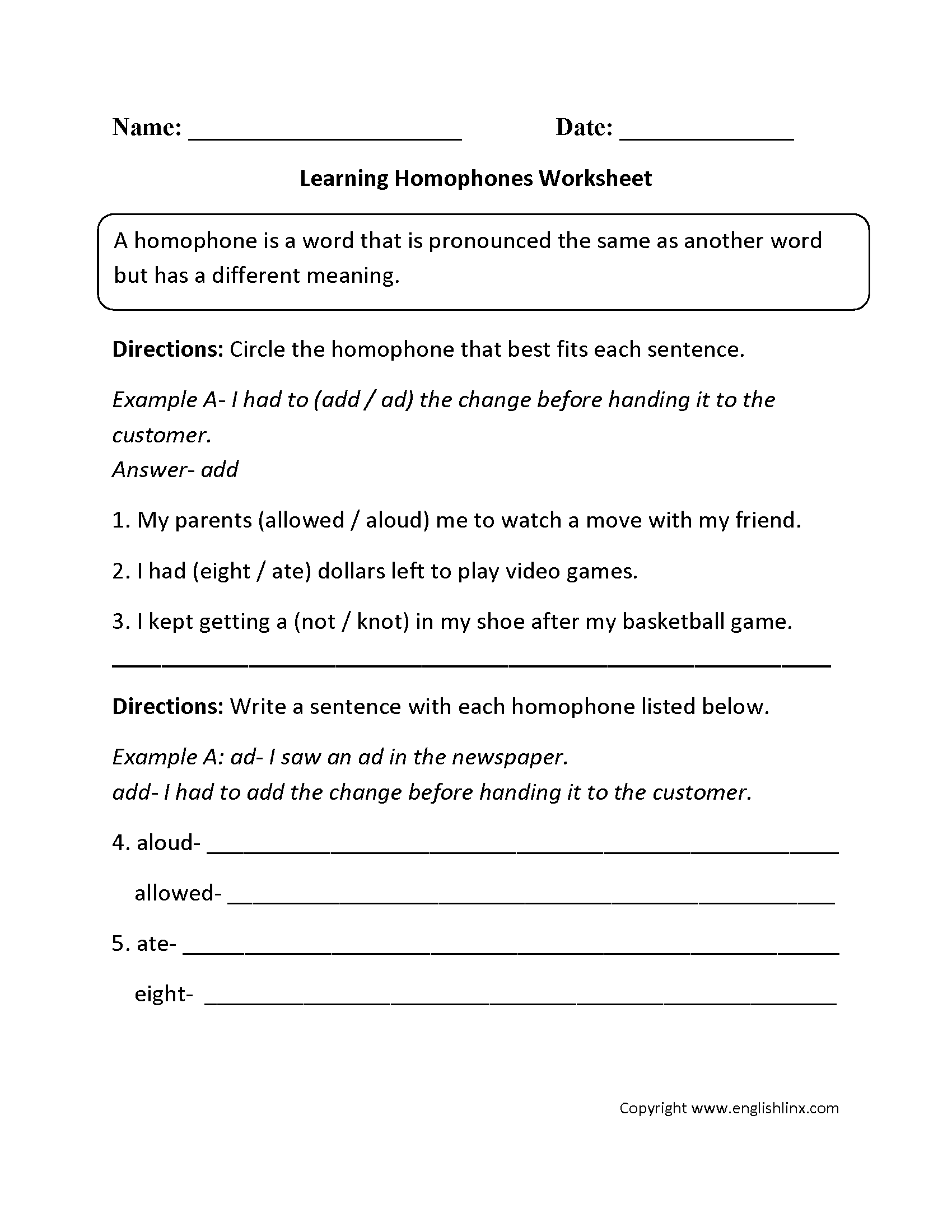 Through Threw Worksheet Homophones