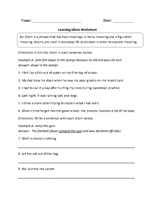 small resolution of Figurative Language Worksheets   Idiom Worksheets