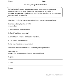 Interjections Worksheet 5th Grade - Promotiontablecovers [ 2200 x 1700 Pixel ]