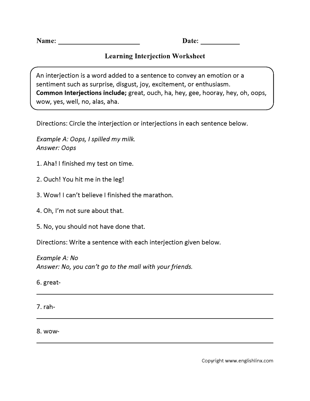 medium resolution of Interjections Worksheet 5th Grade - Promotiontablecovers