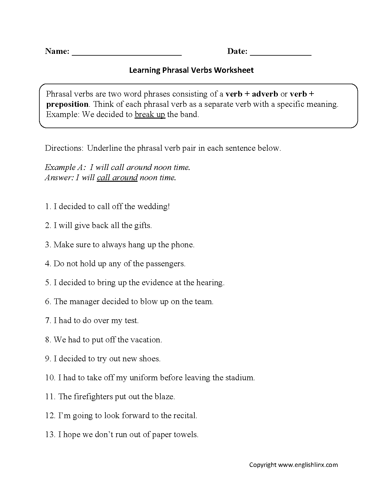 Phrasal Verbs Worksheets