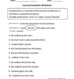 Parts Speech Worksheets   Preposition Worksheets [ 1342 x 1012 Pixel ]