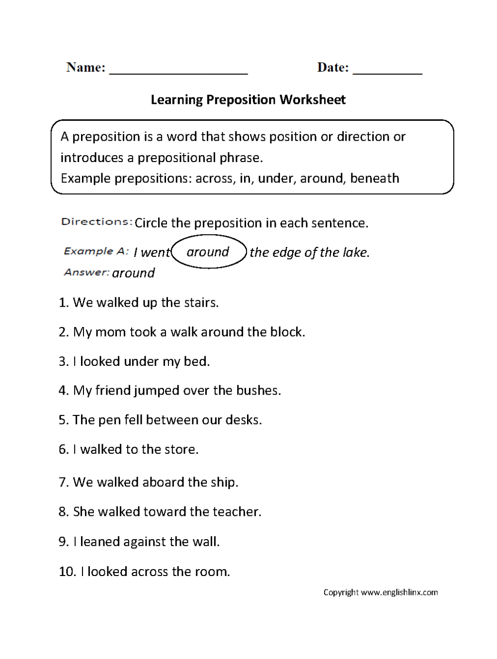 medium resolution of Parts Speech Worksheets   Preposition Worksheets