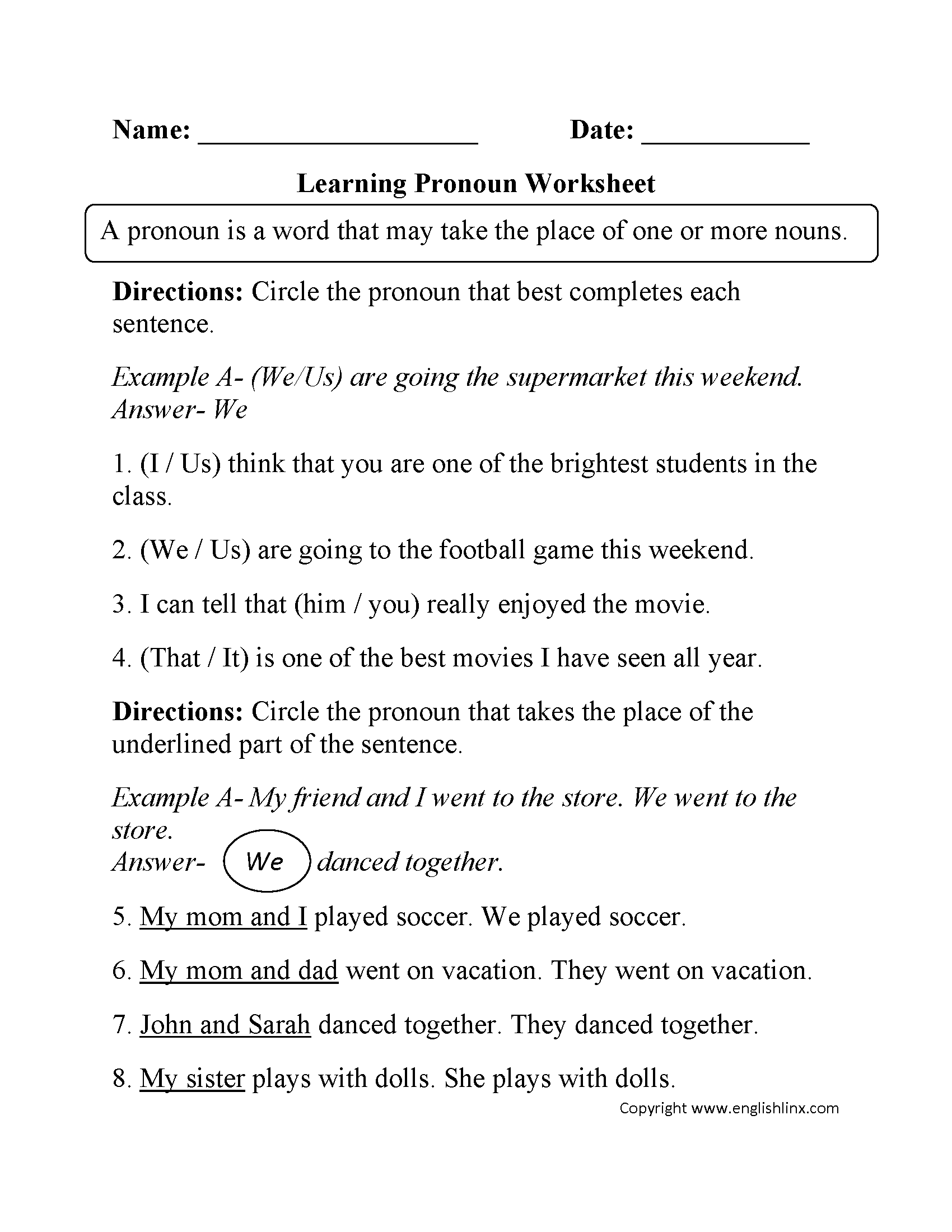 Demonstrative Pronouns Worksheet For Grade 4 With Answers