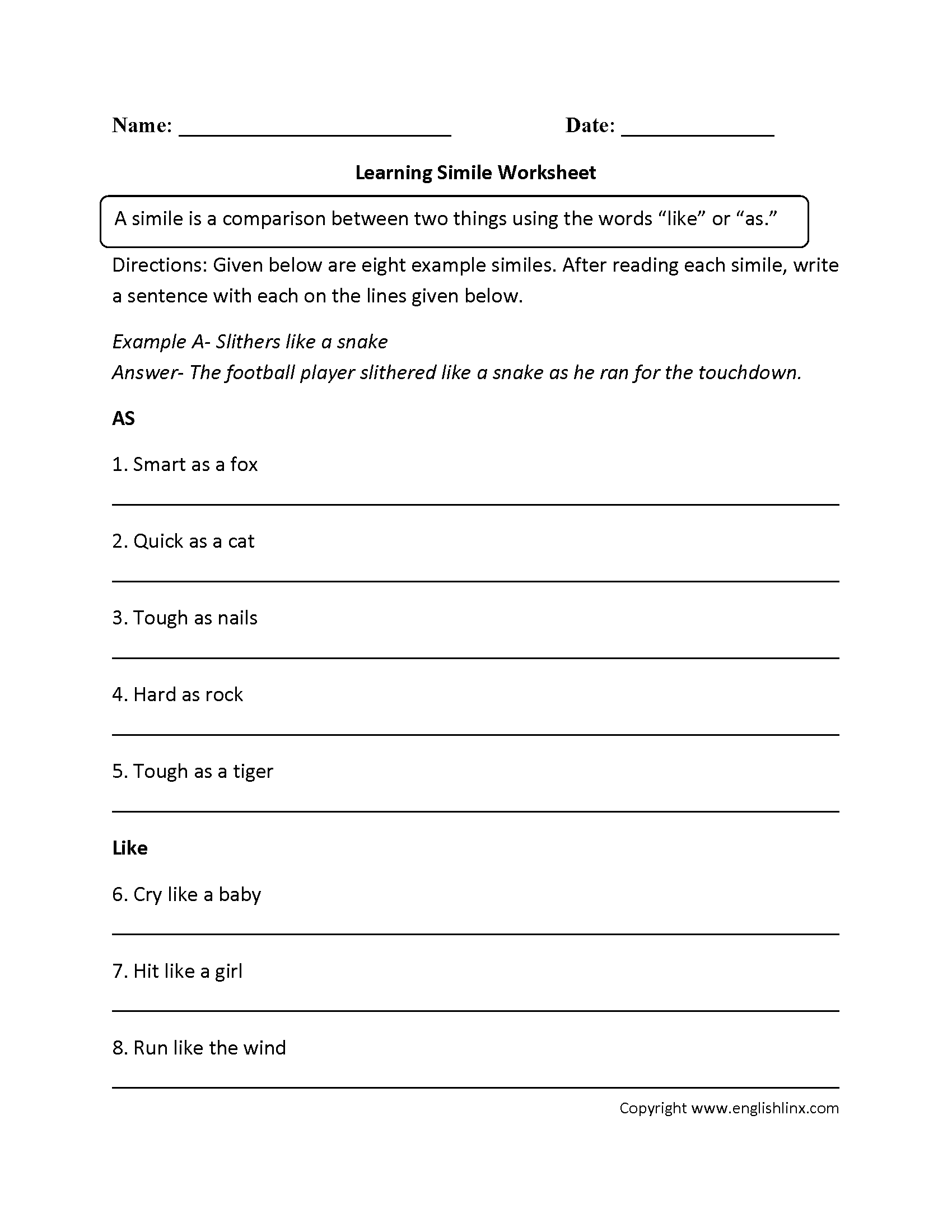 hight resolution of Figurative Language Worksheets   Simile Worksheets