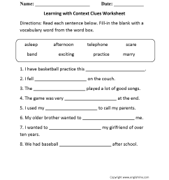 Reading Worksheets   Context Clues Worksheets [ 2200 x 1700 Pixel ]