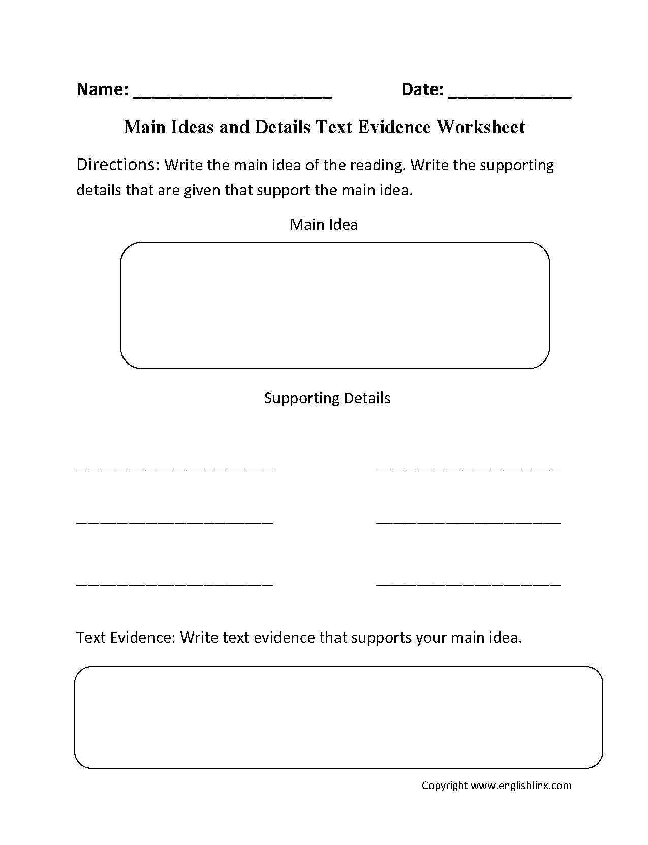 hight resolution of Main Idea Worksheets   Main Idea Text Evidence Worksheet