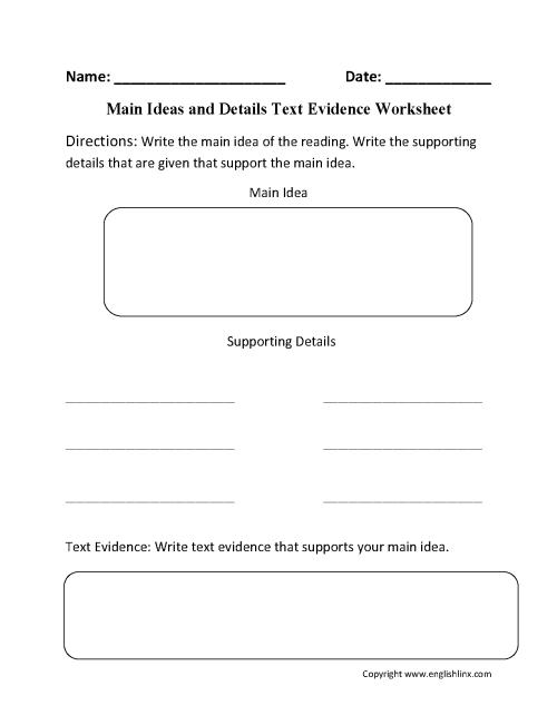 small resolution of Main Idea Worksheets   Main Idea Text Evidence Worksheet