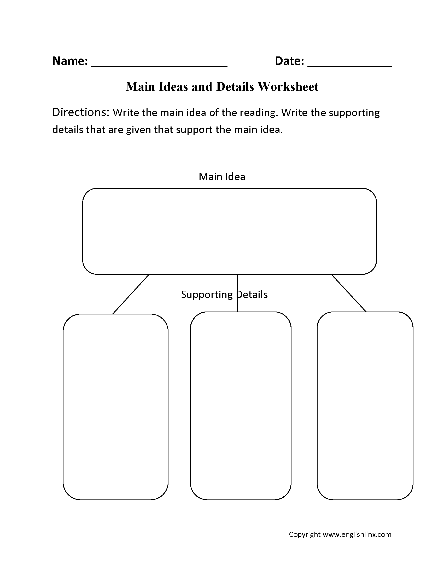 Main Idea And Supporting Details Worksheets 3rd Grade