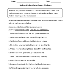Clauses Worksheets   Main and Subordinate Clauses Worksheet [ 1650 x 1275 Pixel ]
