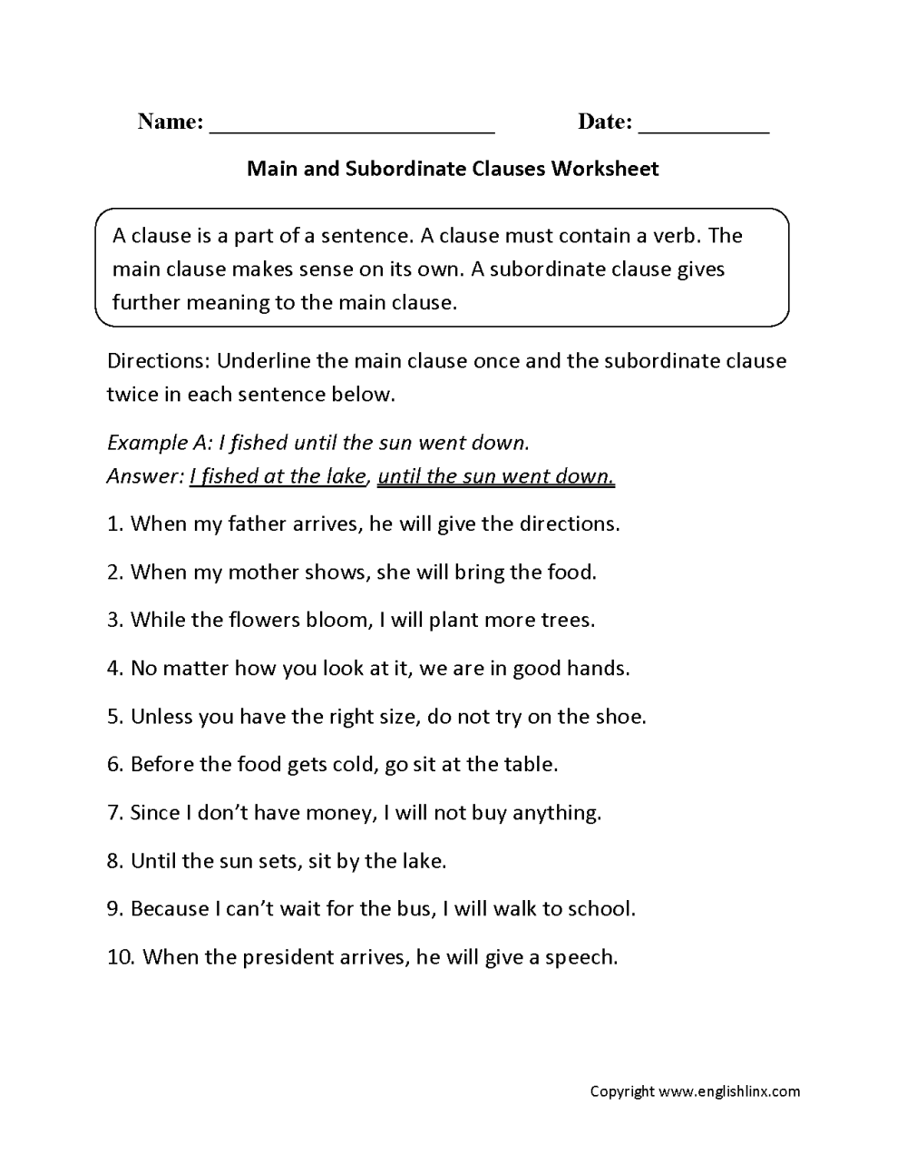 medium resolution of Clauses Worksheets   Main and Subordinate Clauses Worksheet