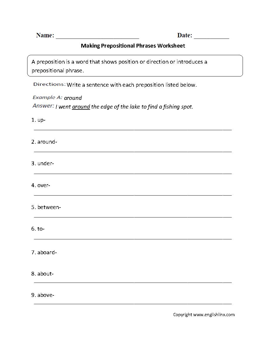 Prepositional Phrases Worksheets