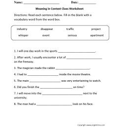 Reading Worksheets   Context Clues Worksheets [ 2200 x 1700 Pixel ]
