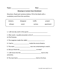 worksheet. Context Clue Worksheet. Worksheet Fun Worksheet ...