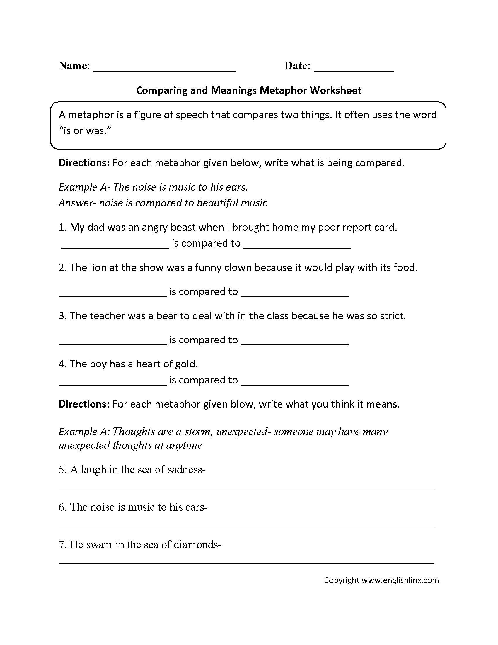 3rd Grade Metaphor Worksheets