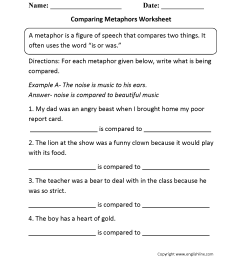 Metaphors Worksheets   Comparing Metaphors Worksheet [ 2200 x 1700 Pixel ]
