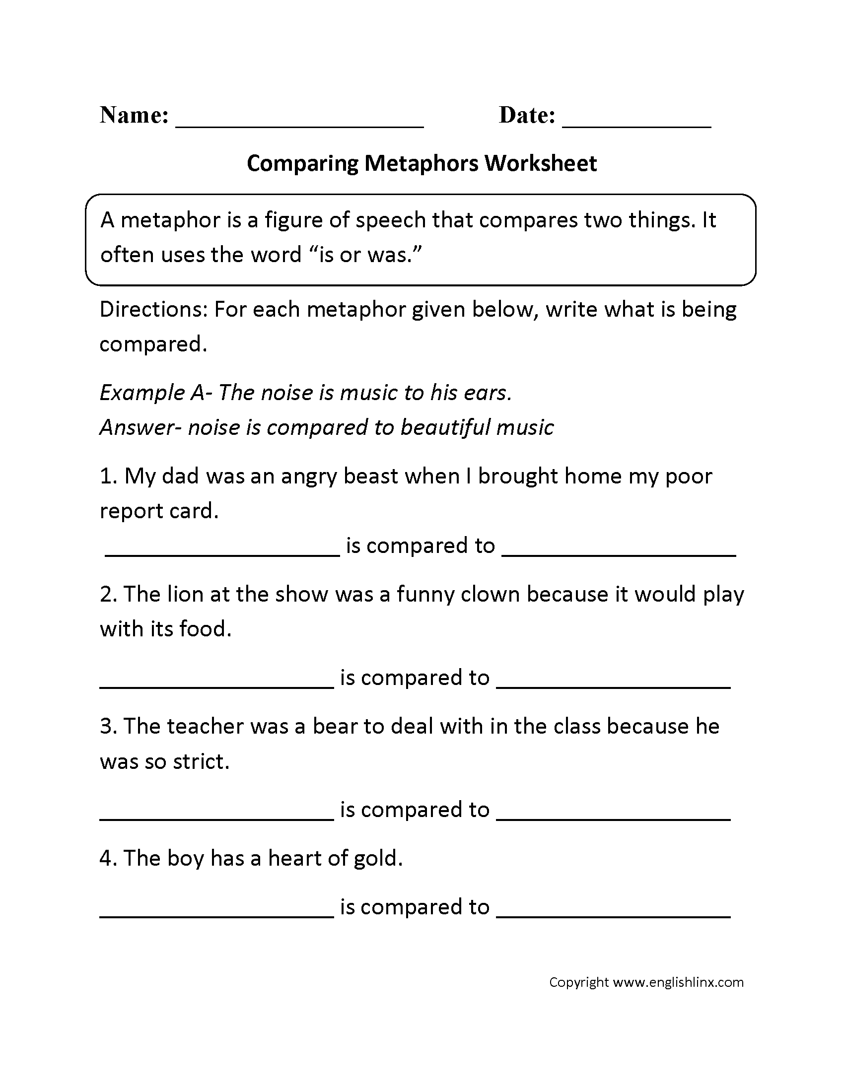 hight resolution of Metaphors Worksheets   Comparing Metaphors Worksheet