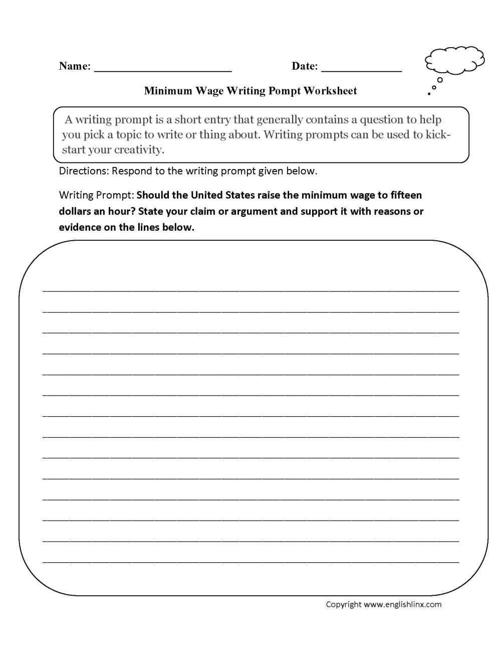 medium resolution of Writing Prompts Worksheets   Argumentative Writing Prompts Worksheets