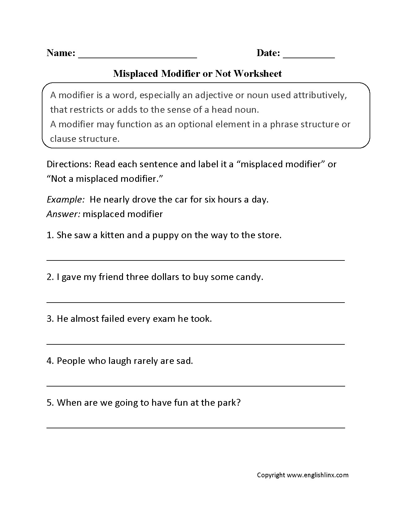 Misplaced Modifier Worksheet Lesupercoin Printables Worksheets