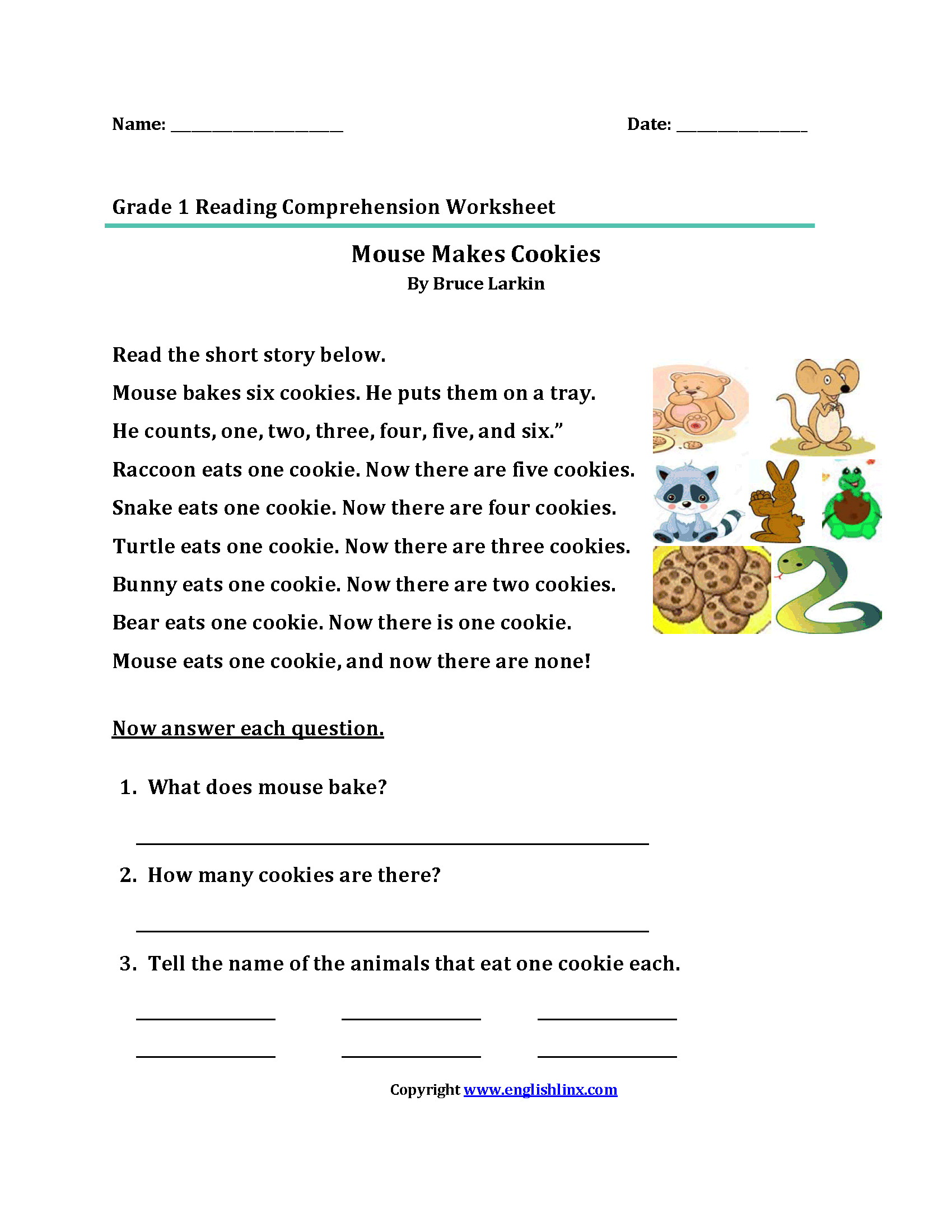 Free Printable Reading Comprehension Worksheets For 1st