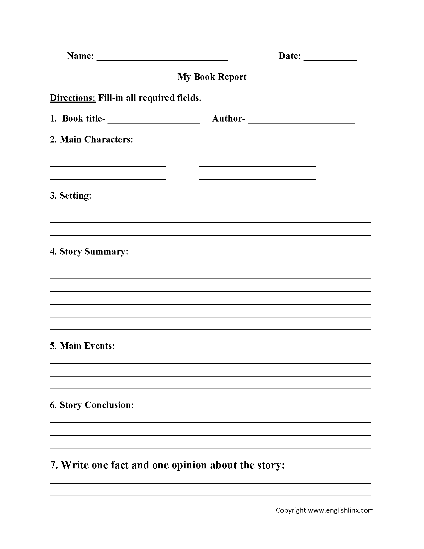 Book Report Worksheets