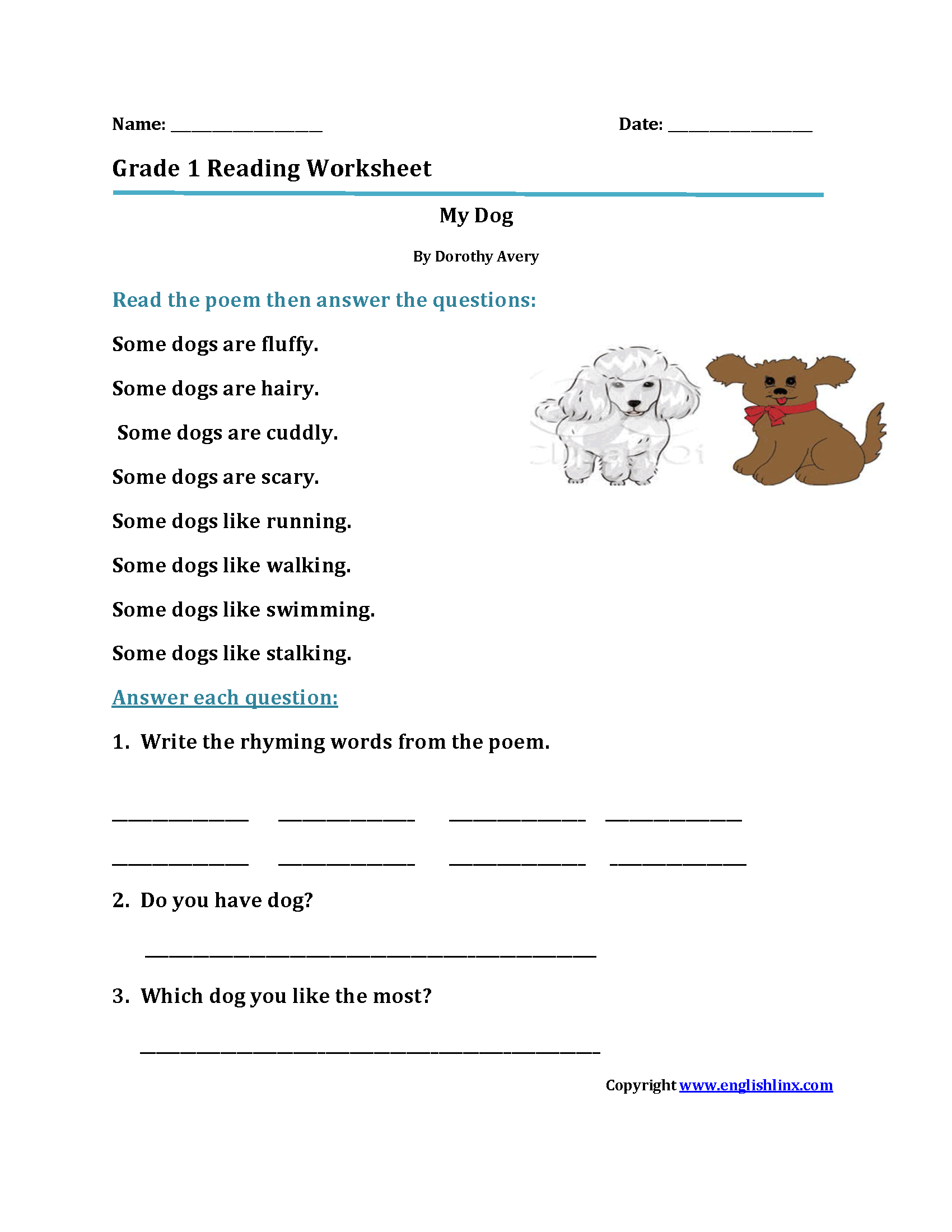 Wolf Description Worksheet