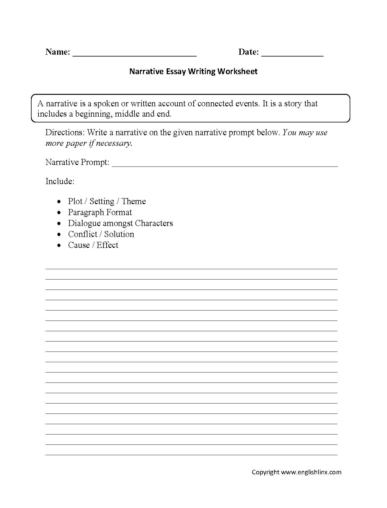 High School Essay Writing Worksheets