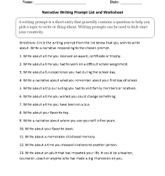 Writing Prompts Worksheets   Narrative Writing Prompts Worksheets [ 1188 x 910 Pixel ]