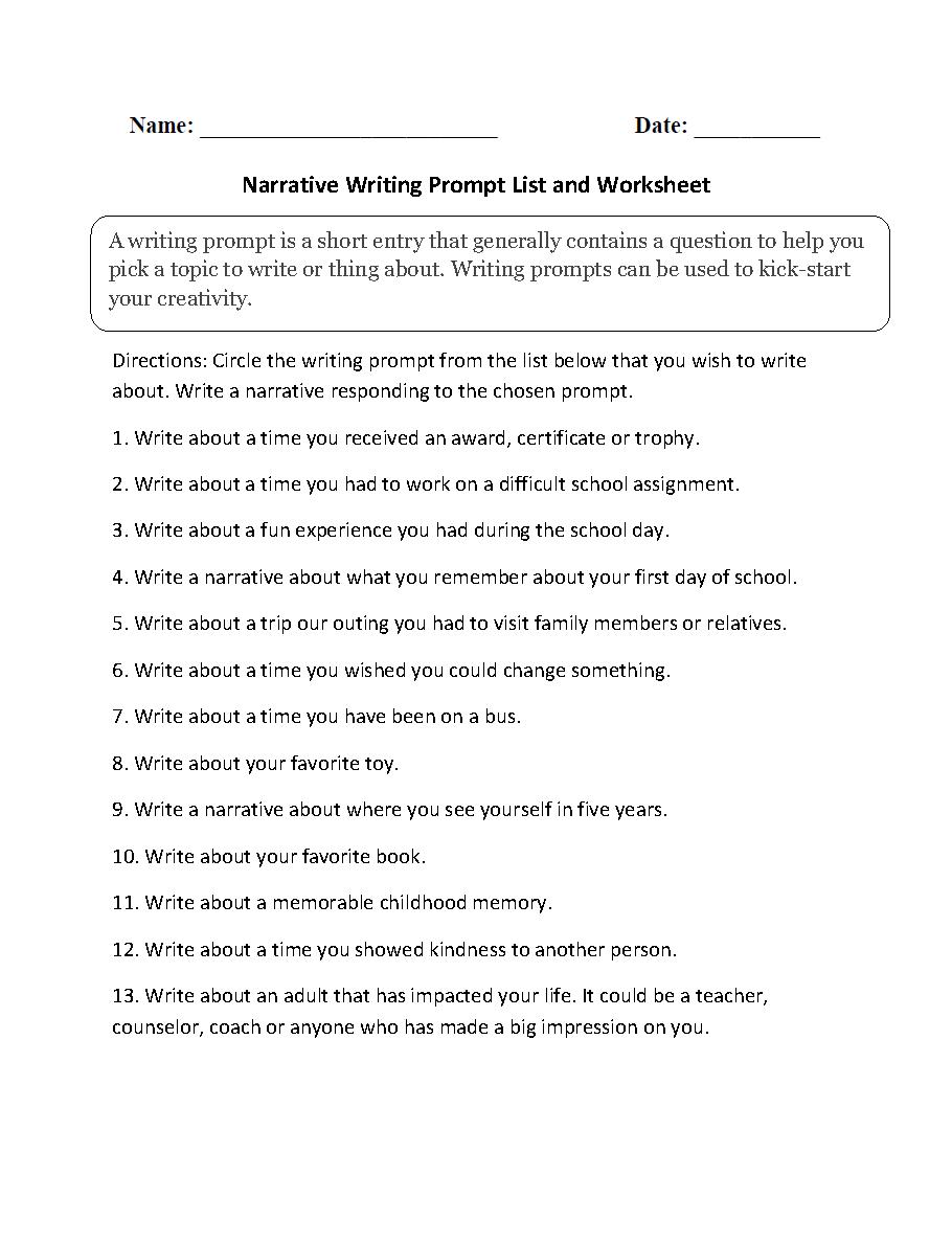 medium resolution of Writing Prompts Worksheets   Narrative Writing Prompts Worksheets