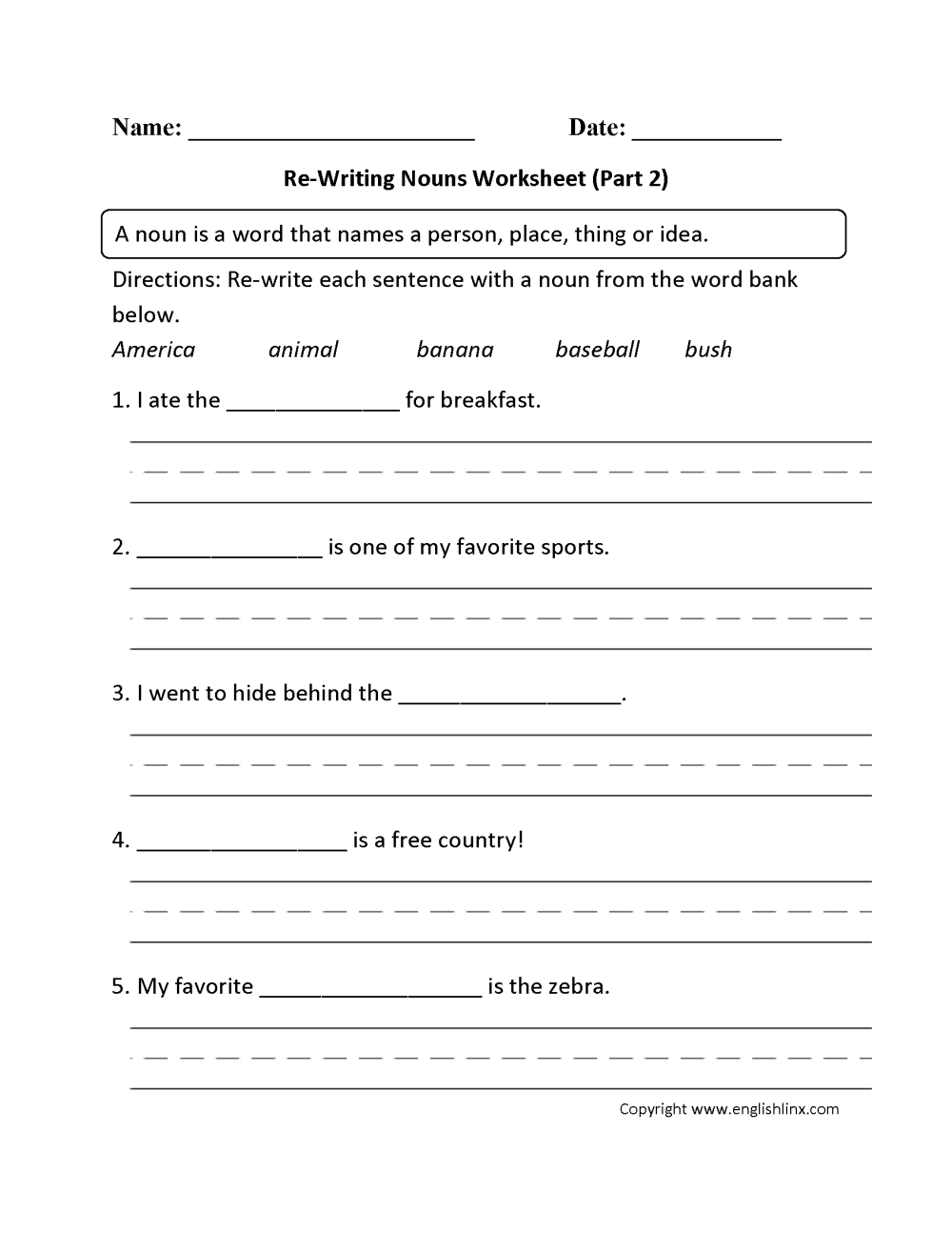 medium resolution of Nouns Worksheets   Regular Nouns Worksheets